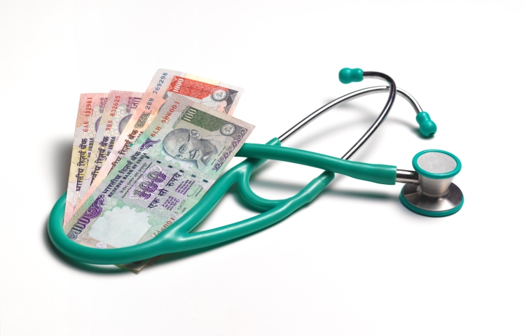 Stethoscope with indian rupees