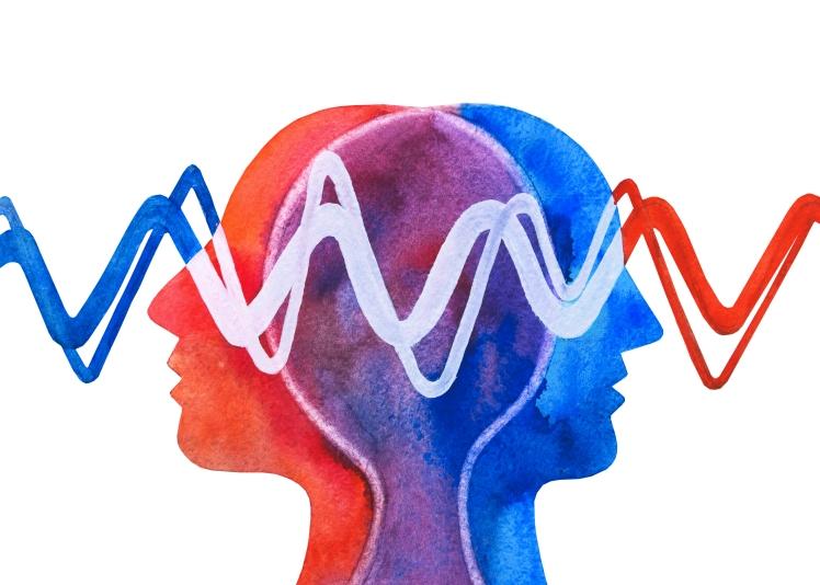 Graphic painting telepathy. Understanding. Empathy.